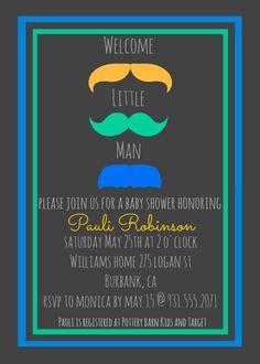 mustache shower, baby shower, baby boy, baby shower invitations.
