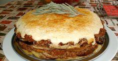 Eggplant pie with potatoes and meat, Musaca, Moussaka, Greek Musaka - RECETAS - Pastel de Tortilla Recipe Scrapbook, Eggplant, Tiramisu, Cheesecake, Greek, Pie, Potatoes, Dishes, Meat
