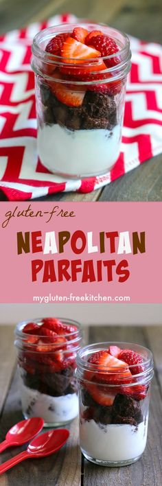 Neapolitan Parfaits combine a gluten-free chocolate muffin, fresh strawberries, and creamy vanilla yogurt! Easy recipe for delicious breakfast or mid-day snack! Best Gluten Free Recipes, Allergy Free Recipes, Gluten Free Snacks, Gluten Free Breakfasts, Foods With Gluten, Gluten Free Baking, Paleo Recipes, Sin Gluten, Parfait Recipes