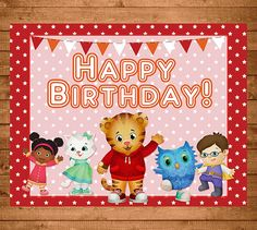 Daniel Tiger Happy Birthday Sign Red Stars by NineLivesNotEnough