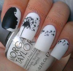 Black and White Dandelion Inspired Nail Art