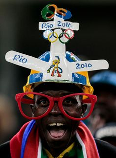#TOPSHOT Fans of South Africa cheer their team during their Rio 2016 Olympic Games First Round Group A men's football match South Africa vs Iraq at...