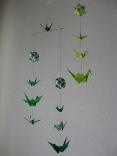 Origami Mobile  Cranes and Modules Green by makikomo on Etsy, $28.00