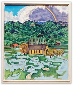Rita Angus, Flood, Hawkes Bay, oil on canvas. New Zealand Houses, New Zealand Art, Nz Art, Landscape Paintings, Landscapes, Kiwiana, Art History, Oil On Canvas, Sculptures