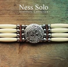 Womens Native American choker white bone choker by NessSolo