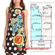 Construção do molde vestido estampado no tamanho 48. A ilustração do molde de vestido não tem valor de costura. Modelo de vestido, descontraído e jovem. PA
