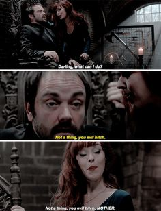 [gifset] 10x10 The Hunter Games #SPN #Crowley #Rowena. I died at this part!!!