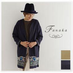 【Fanaka ファナカ】 コットン チェーン ステッチ 刺繍 コート (62-2161-110)