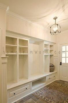 mud room storage idea- built ins with cubby holes for each person, shoe self, bench House Design, Mudroom, House, Interior, Home, Built Ins, House Styles, New Homes, Mud Room Storage
