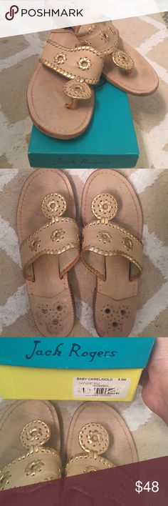Jack Rogers Navajo Sandal Size 8.5, Jack Rogers baby camel Leather sandal with gold leather whip stitch detail. gently worn. Jack Rogers Shoes Sandals