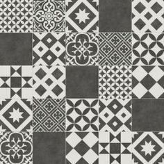 Cushioned Vinyl Grey and White Vintage Portuguese Tile Design Vivre 01    Best4flooring UK