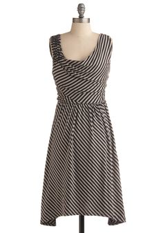 Got It Parade Dress in Black - Stripes, Casual, A-line, Sleeveless, Tank top (2 thick straps), Spring, Summer, Black, Grey, Nautical, Mid-length