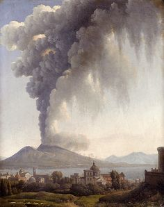 """Alexandre-Hyacinthe Dunouy: """"Bay Of Naples With Vesuvius Erupting Beyond"""", Oil on paper mounted on canvas, 45.5 x 37.5 cm (17.91"""" x 14.76""""), Private collection."""