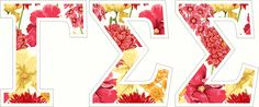 "Gamma Sigma Sigma Floral Greek Letter Sticker - 2.5"" Tall from GreekGear.com Delta Zeta Letters, Sorority Letters, Gamma Sigma Sigma, Tomorrow Is The Day, Sorority Outfits, Sorority Life, Iron On Letters, Floral Letters, Screen Printing"
