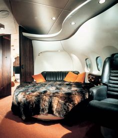 """The interior of the private DC-9 for Playboy's Hugh Hefner. He took delivery of the jet from McDonnell Douglass in January 1970 & dubbed the aircraft """"Big Bunny""""."""