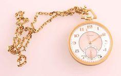 Longines, Taschenuhr, Art Deco, 750er Gelbgold, Ziffernblatt mit aufgelegten, goldenen Zahlen und kl — Uhren