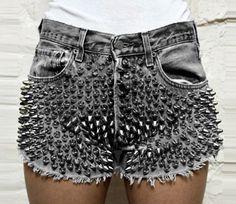 Spike denim shorts