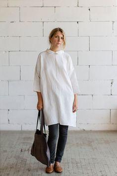 100% Linen White 3/4 sleeve Dress hand made in London