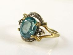 Vintage Estate Art Deco Ring Natural Blue by MoonLightArtGallery