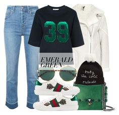 """Emerald City Look"" by alaria ❤ liked on Polyvore featuring 7 For All Mankind, Muveil, Fendi, Gucci, Kate Spade and emeraldgreen"