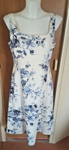 dd92e22b42ca Phase Eight Blue  amp  White Floral Sleeveless Midi Dress Size 12 Wedding  Party  WeddingGuest