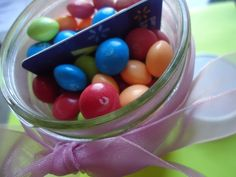 gifts in a jar with candy, cute!