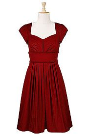 Fit-and-flare banded-waist dress with cap sleeves and pleated skirt. Customizable. Tomato red.