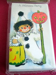 Vintage HALLOWEEN Party Invitations 10 Sealed Package 1950s Jack o Lantern Clown
