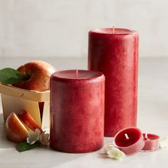Fresh Apple Mottled Pillar Candles