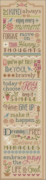"This is the first cross stitch pattern in the ""Three Little Words"" series from Lizzie Kate titled ""Be Kind Always"". There will be 14 designs in all with each pattern containing two designs. You can stitch as one piece as shown in second photo or stitch only those you prefer. If you stitch all as one piece, the stitch count is 95 x 388. The Lizzie Kate website will have the border used in the completed design that you can download."