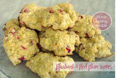 rhubarb & red plum scones