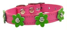 Flower Leather Pink w- Emerald Green Flowers 10