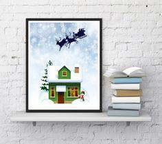 Christmas printable Christmas print Santa by InstantDownloadArt1