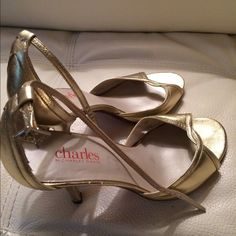 Charles David golden heels. 7M. Charles David. Size 7.  Used. Gold strappy sandals. 3 inch heel. Charles David Shoes Sandals