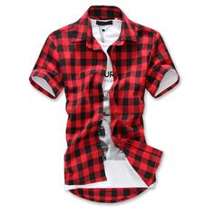 2e5280bba0f Litthing 2018 Men Casual Slim Fit Plaid Print Shirt Short Sleeve Turn-down  Collar Casual New Summer Men Shirts. Club Factory