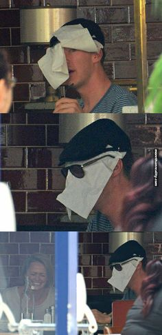 How to hide from paparazzi: The Cumberbatch method... oh dear you very funny.. can I take you home??