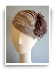 Gray sculptured cocktail hat