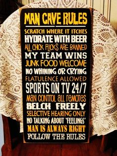 Man Cave Rules Funny Painted Wood Sign (Colors Can Be Changed To Match Your Fav Sports Team)