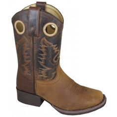Smoky Mountain Boots Children Boys Vista Brown Distress Leather Slouch