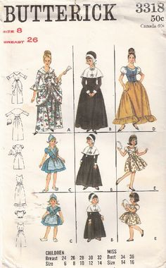 Butterick 3318  $10 Girls' Size 8, Breast 26. Colonial dress, little Dutch girl, Puritan, Spanish Girl, and Gypsy. Partially cut and complete.
