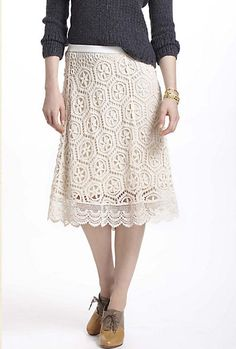 What Would Snow White Wear? Cream Doily Lace Skirt from Anthropologie