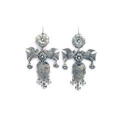 Day of the Dead Silver Earrings World Folk Art ($168) ❤ liked on Polyvore featuring home, home decor, wall art, silver home accessories, silver wall art, silver home decor and folk art