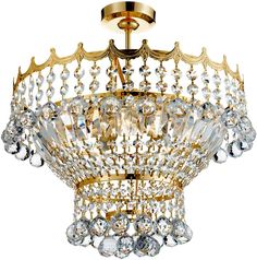 Versailles Gold Finish Semi Flush 5 Light Crystal Fitting