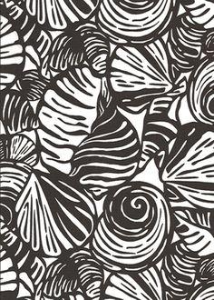 10iwi Tropical Hawaiian seashells, cotton apparel fabric.