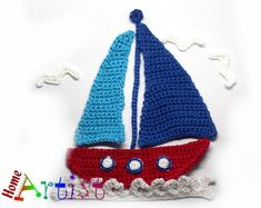 Crochet Applique  Sailboat Ship