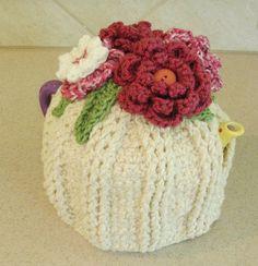 Teapot Cozy   Tea Pot cozy with Flowers, Crocheted by BernoullisAttic