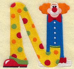 Clown Letter N - 5 inch design (W5096) from www.Emblibrary.com