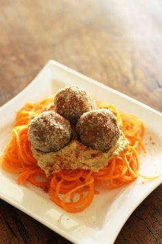 Walnut mushroom balls with hummus and carrot noodles