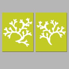 Modern Coral Duo - Set of Two 8x10 Coordinating Coral Silhouette Prints - Choose Your Colors - Shown in Lime Green and White