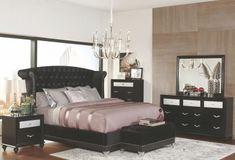 Barzini Black Velvet Platform Bedroom Set - All About Decoration Black Bedroom Sets, 5 Piece Bedroom Set, Black Bedroom Furniture, Home Furniture, Furniture Ideas, Black Bedroom Decor, Furniture Mattress, Furniture Stores, Luxury Furniture